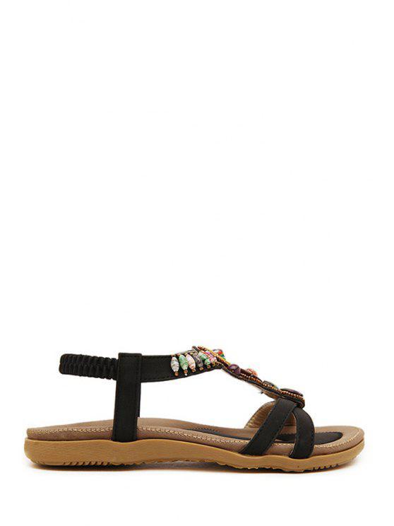 Sandales à talon plat et élastique avec faux bijoux - Noir 40