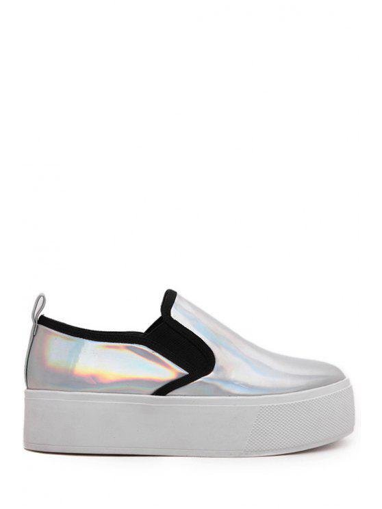 Metálica de color elástico de la Ronda del dedo del pie zapatos de plataforma - Plata 37