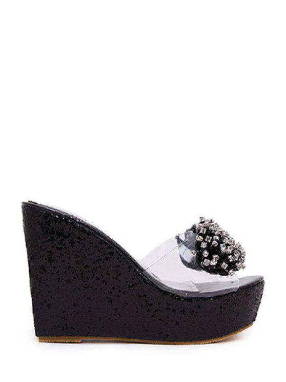 new Rhinestone Transparent Wedge Heel Slippers - BLACK 39
