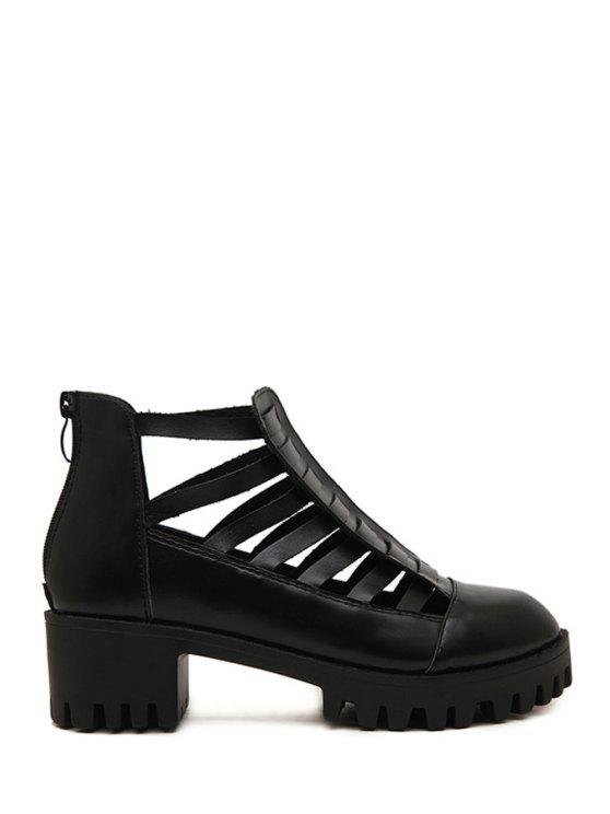outfit Closed Toe Platform Black Sandals - BLACK 36