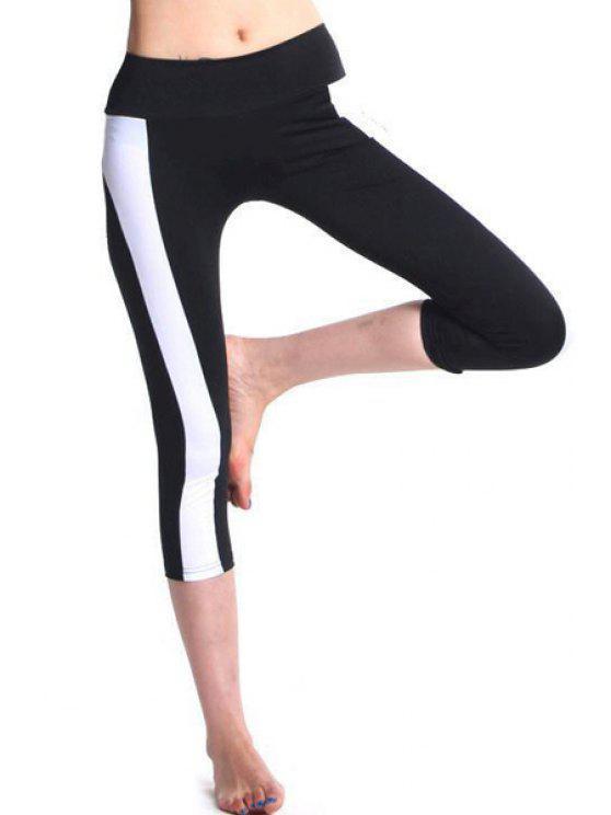 fashion Color Block Capri Tight Pants - WHITE AND BLACK XL