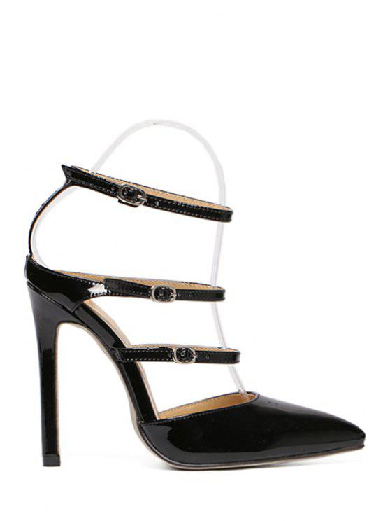 shops Solid Color Buckles Pointed Toe Sandals - BLACK 39