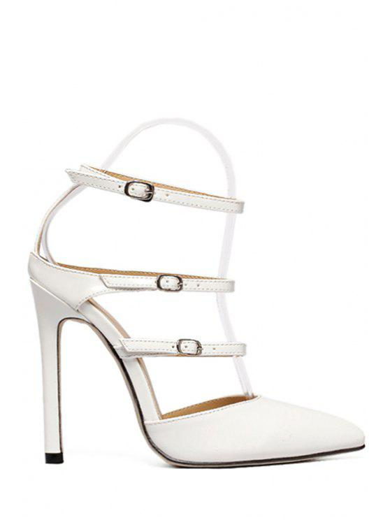 lady Solid Color Buckles Pointed Toe Sandals - WHITE 37