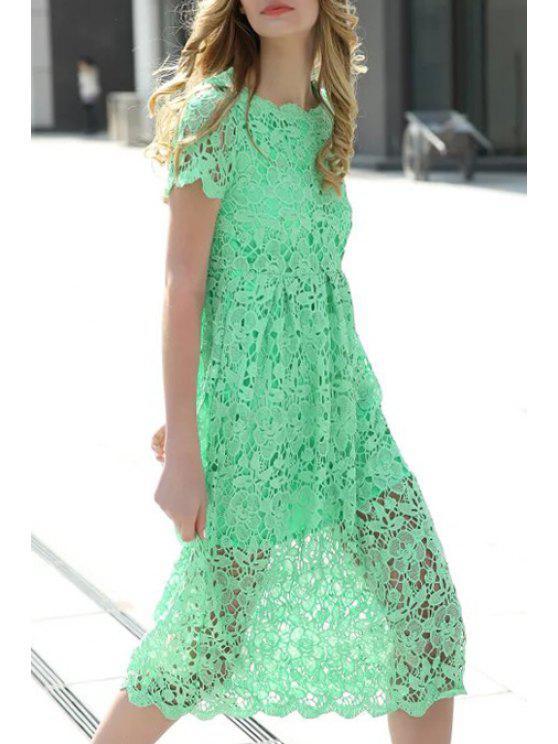 women's Crochet Flower Green Dress - GREEN M