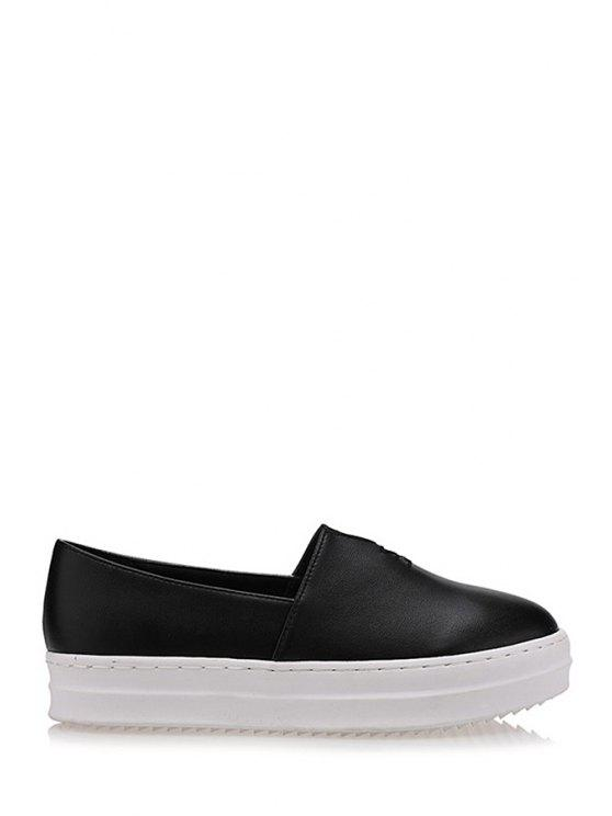 outfits Round Toe Slip-On Flat Shoes - BLACK 38