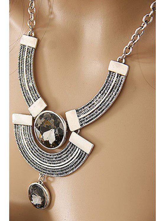 buy Round Faux Crystal Metal Arc Necklace - SILVER