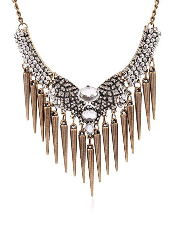 affordable Faux Crystal Rhinestone Cone Fringed Necklace - COPPER COLOR