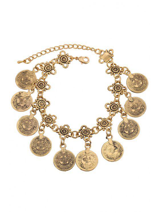 Bracelet vintage frangé embelli monnaie alliage - Or