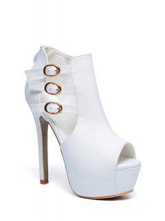 Buckles Platform Stiletto Heel Peep Toe Shoes - White 38