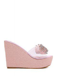 Rhinestone Transparent Wedge Heel Slippers - Pink 38
