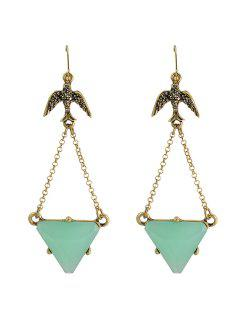 Pair Of Chic Triangle Faux Gem Earrings For Women - Golden