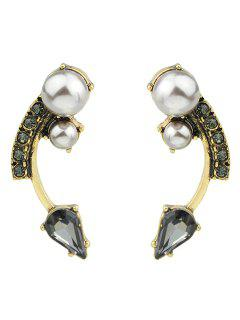 Pair Of Alloy Faux Pearl Decorated Arc Shape Earrings - Golden