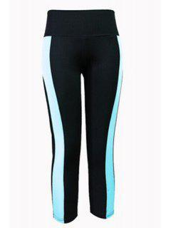 Color Block Capri Tight Pants - Blue And Black L
