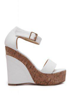 Ankle Strap Wedge Heel Sandals - White 39