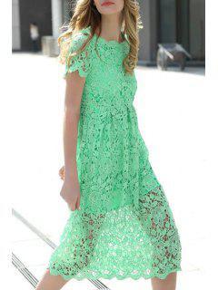 Crochet Flower Green Dress - Green L
