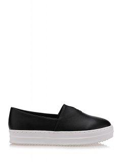 Round Toe Slip-On Flat Shoes - Black 38