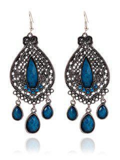 Boucles D'oreilles Goutte D'eau Bohemia Faux Cristal - Bleu