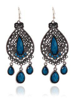 Bohemia Faux Crystal Water Drop Earrings - Blue