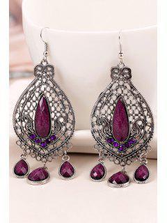 Bohemia Faux Crystal Water Drop Earrings - Purple