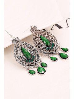 Bohemia Faux Crystal Water Drop Earrings - Green