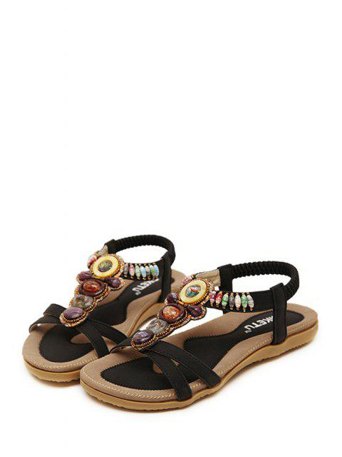 hot Faux Gem Elastic Flat Heel Sandals - BLACK 39 Mobile