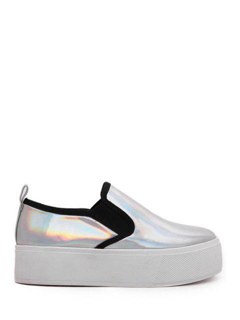 Metallic Couleur Elastic Round Toe Platform Shoes - Argent 37 Mobile