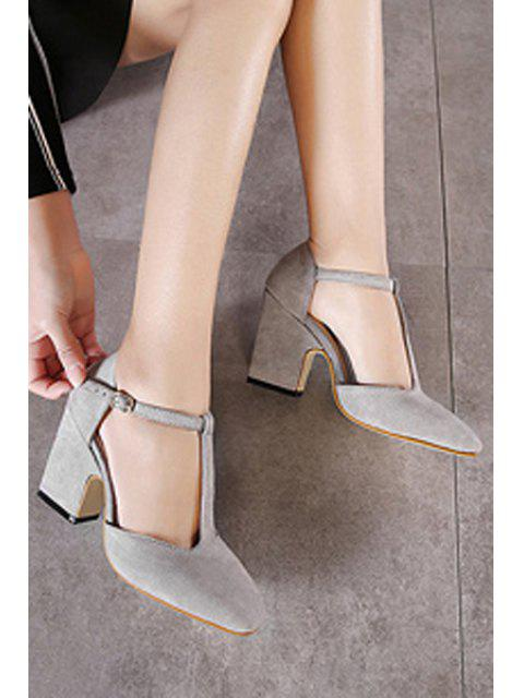 lady Flock T-Strap Chunky Heel Pumps -   Mobile