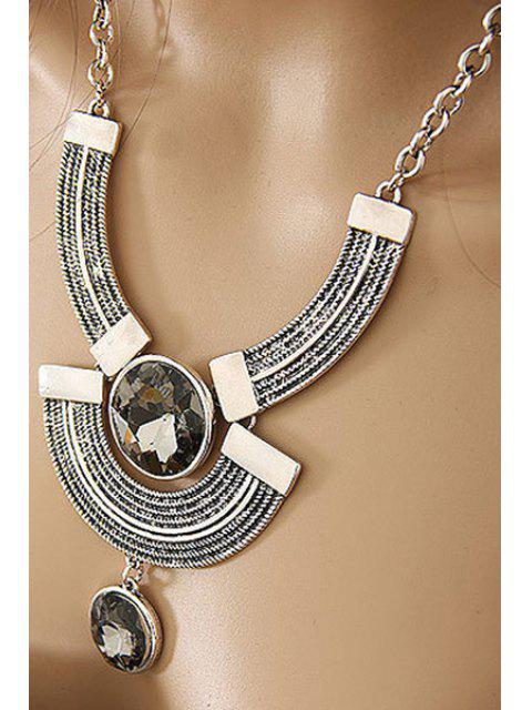 buy Round Faux Crystal Metal Arc Necklace - SILVER  Mobile