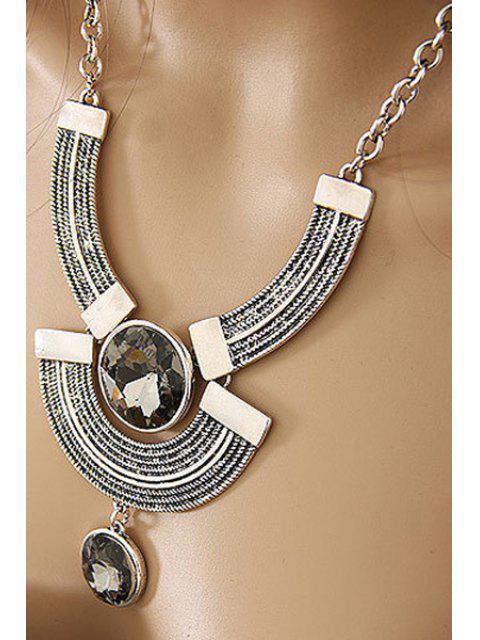 Rund Faux-Kristallmetallbogen Halskette - silber  Mobile