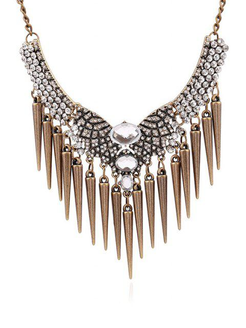 affordable Faux Crystal Rhinestone Cone Fringed Necklace - COPPER COLOR  Mobile
