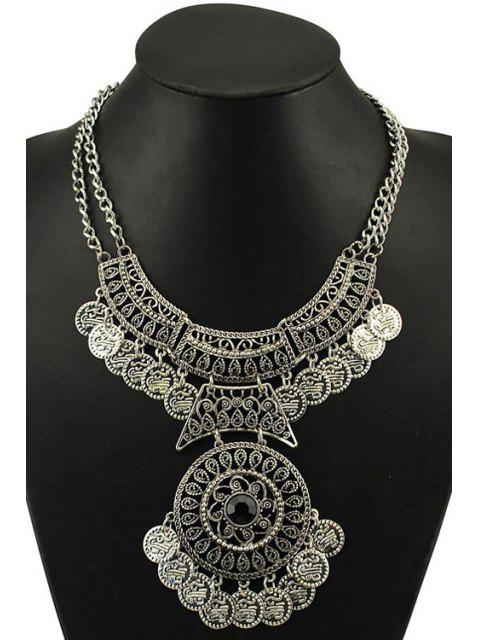 unique Vintage Round Coin Necklace - SILVER  Mobile