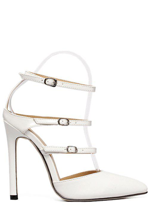 Solid Color Buckles Pointed Toe Sandals - WHITE 39
