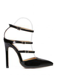 Buy Solid Color Buckles Pointed Toe Sandals - BLACK 38