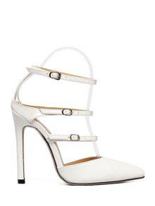 Buy Solid Color Buckles Pointed Toe Sandals - WHITE 37