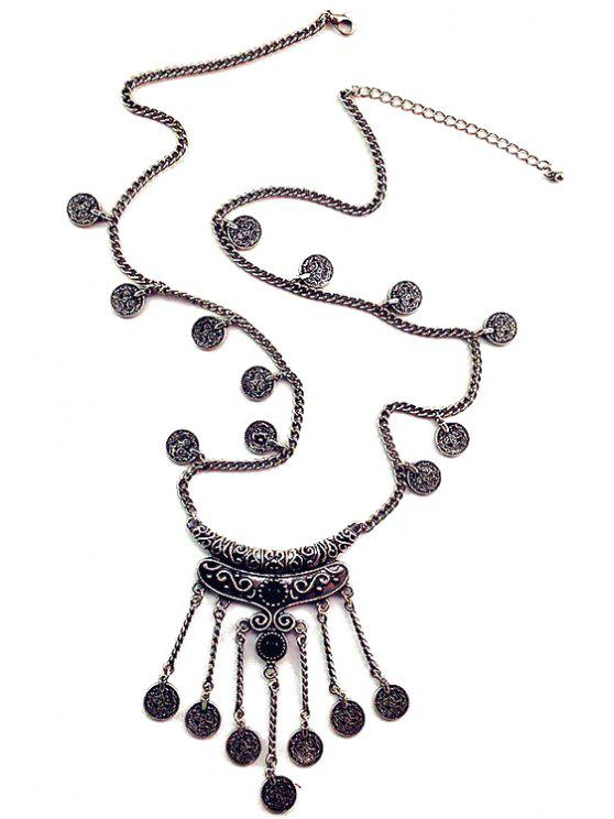 shops Crescent Coin Fringed Necklace - BLACK