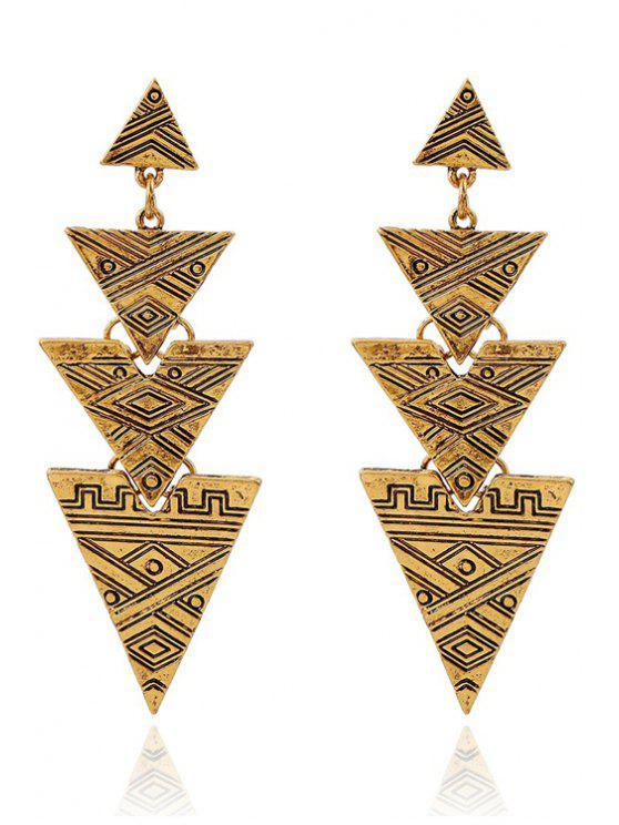 Boucles d'Oreilles Pendantes en Forme de Triangles avec Sculpture - Or