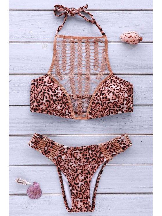new High-Cut Combined Lace Leopard Bikini Set - LEOPARD M
