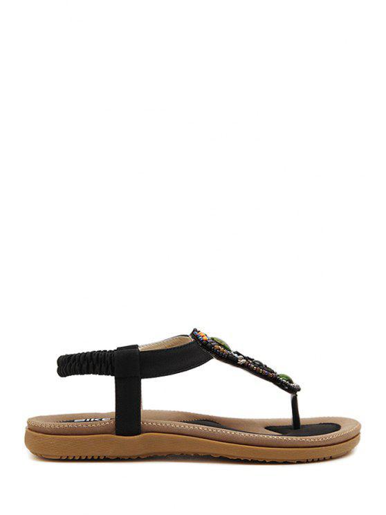 Rebordear elásticas sandalias de tacón plano - Negro 38