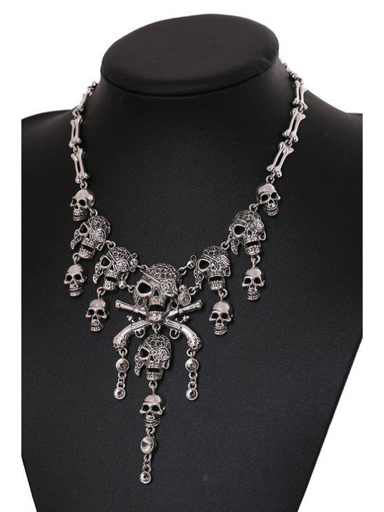 outfits Skull Shape Tassel Necklace - SILVER