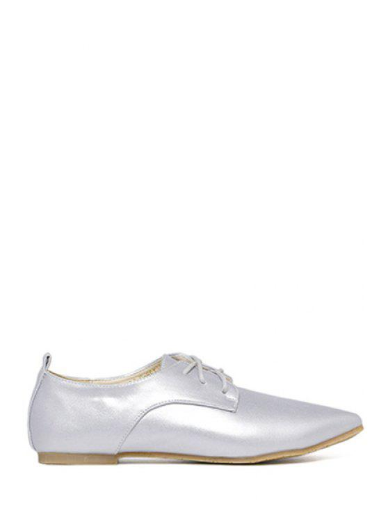 women's Lace-Up Solid Color Flat Shoes - SILVER 39