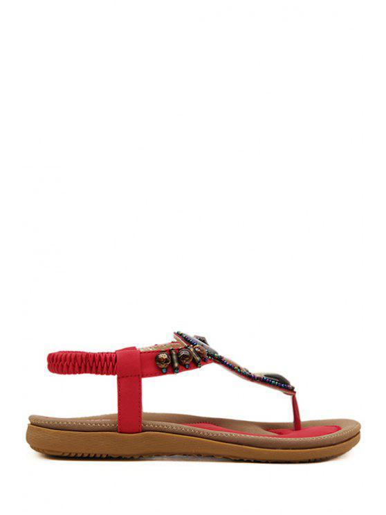 fancy Elastic Beading Flat Heel Sandals - RED 40