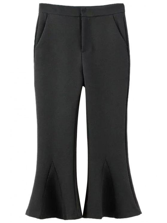 chic Solid Color Cropped Flare Pants - BLACK L