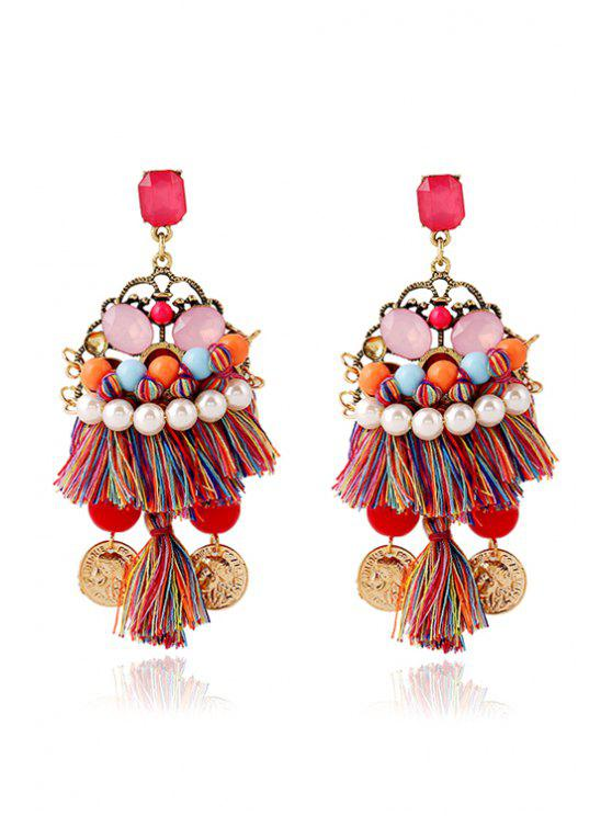 hot Ethnic Bohemia Coin Tassel Earrings - COLORMIX