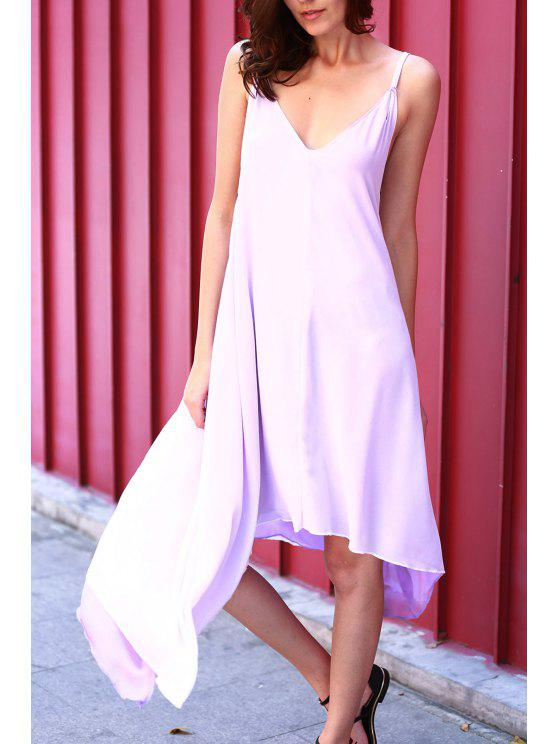 shops High Low Irregular Hem Spaghetti Straps Dress - LIGHT PURPLE XL