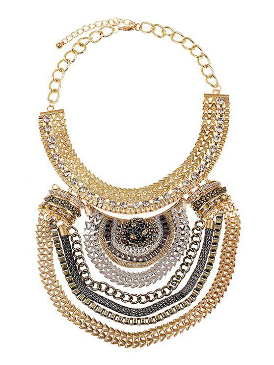 shops Multi-Layered Metal Chunky Necklace - GOLDEN