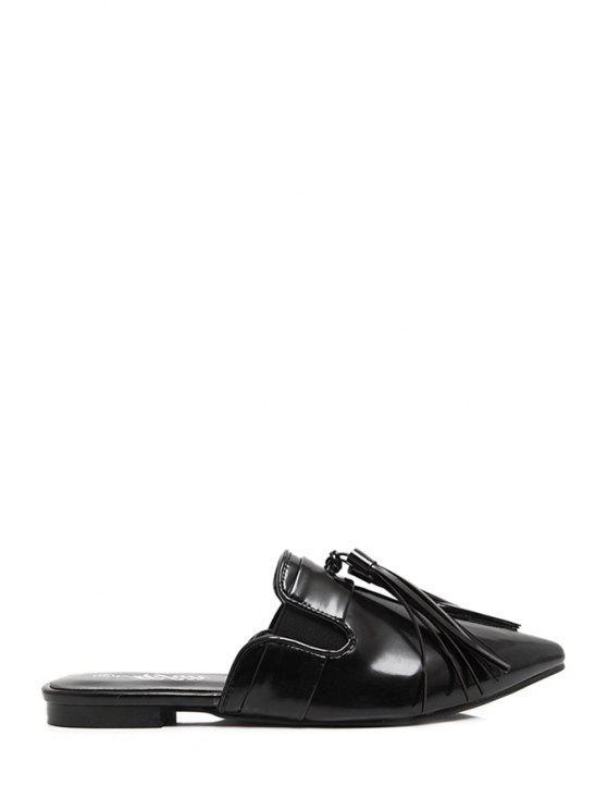 unique Tassel Pointed Toe Flat Heel Slippers - BLACK 38