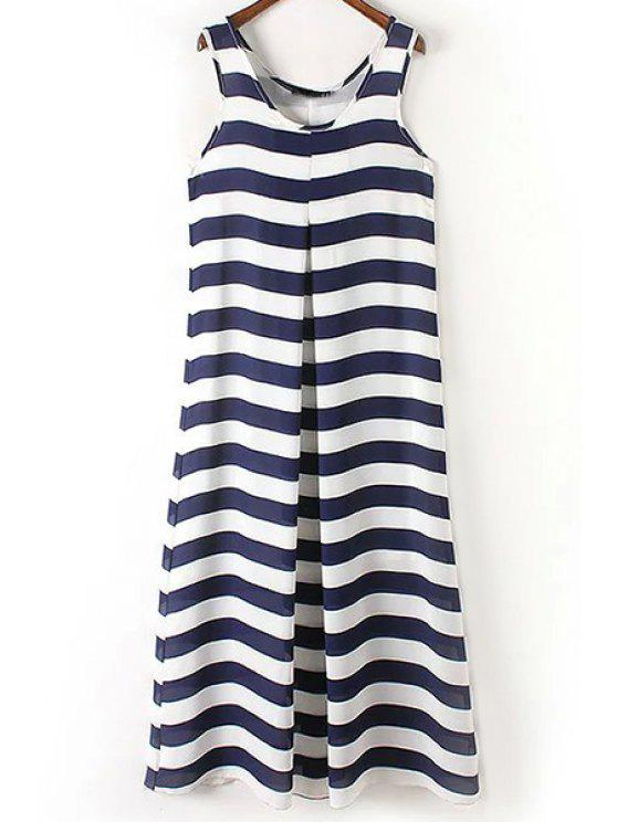 outfit Stripe Scoop Neck Maxi Sundress - BLUE AND WHITE M