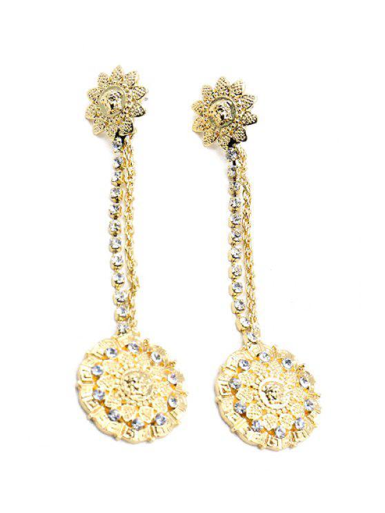 Pendientes de la flor del Rhinestone del estilo barroco - Dorado