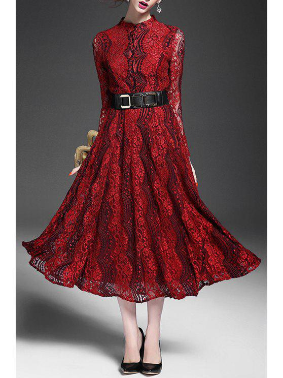 Red lace belted dress