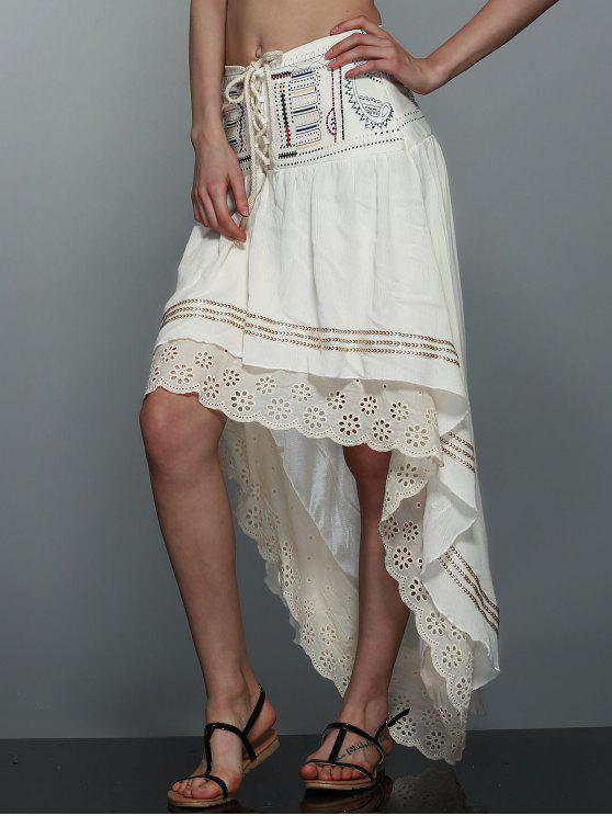 fancy High-Low  Printed Asymmetric Skirt - OFF-WHITE M